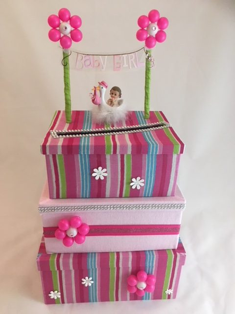 Fuschia, Blue and green stripped, 3-tier Card Box for Baby Shower, bubbles into flowers, swan, little girl