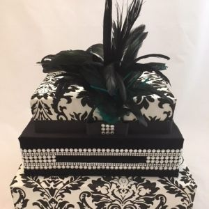 Black tie wedding, feathers, silver and diamond accents, black velvet