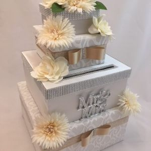 White Satin and Lace Wedding card box, 4 tier money card box, 2 layers with lace overlay, champagne ribbon, soft white and cream flowers, diamond detail, Mr & Mrs