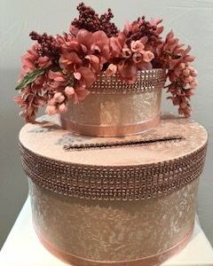Rose Gold material with rose gold bling accents, drooping flowers and accents
