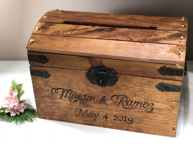 rustic wood wedding card box, early American stain, iron hardware, latch hasp with lock